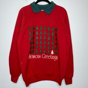 Vtg Ugly Christmas Sweatshirt Season Greetings L